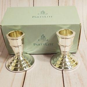 Partylite Silver Seacrest Candlestick pair NIB